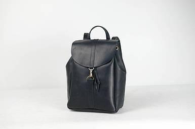Кожаный рюкзак на затяжках с карабином, размер большой Кожа Итальянский краст цвет Черный