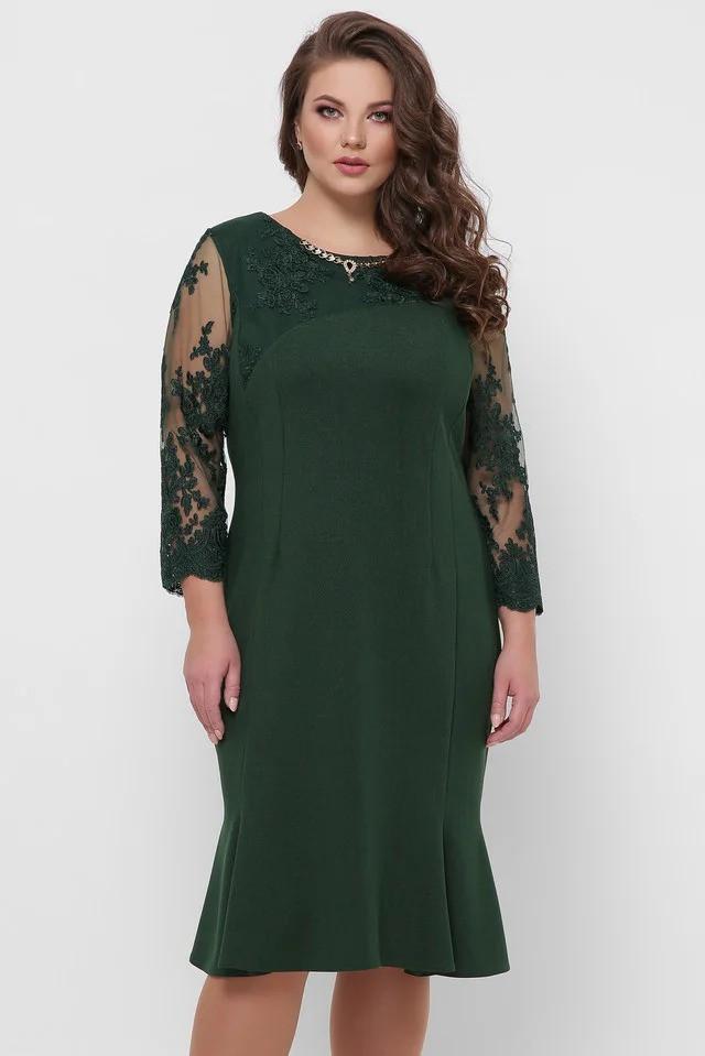 Нарядное женское платье Аннэт изумруд(52-58)