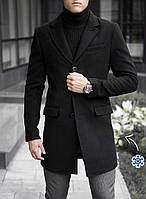 Пальто мужское кашемировое ЗИМНЕЕ до - 25*С / черное ЛЮКС качество