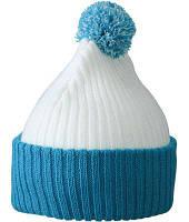Стильная молодежная шапка с подворотом и помпоном белая с тихоокеанским