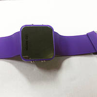 Часы LED зеркальные фиолетовые