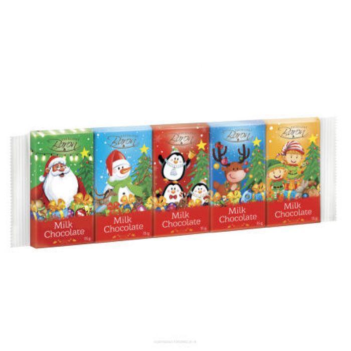 Новорічний набір шоколад молочний Baron Milk Chocolate 75g (5*15g)