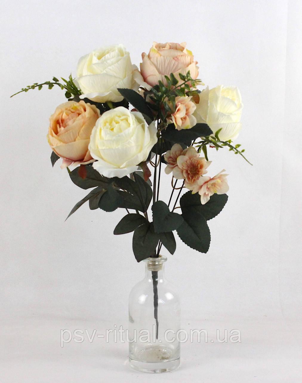 Роза с крупным нарциссом 11 голов 55 см Декор