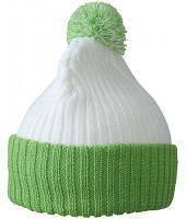 Молодежная теплая зимняя шапка с помпоном белая с ярко-зеленым