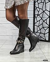 Сапоги женские кожаные с ремешком зима, фото 1
