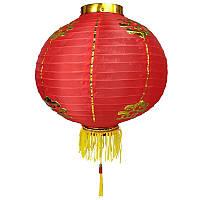 Фонарик подвесной китайский декоративный 38 см красный (C0986)