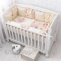 Набір в дитячу ліжечко ASIK з сатину «Ніжність» молочного кольору № 6-363