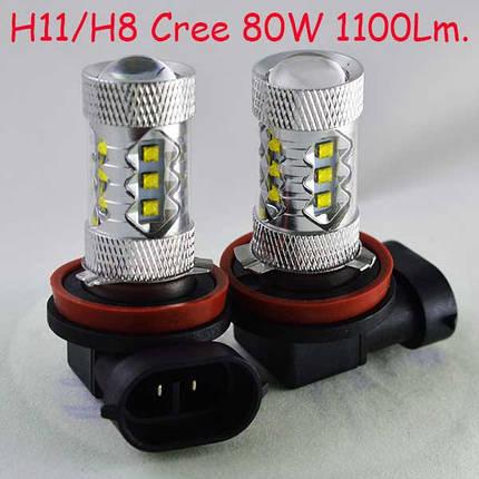 Автомобильная лампа SLP LED с цоколем Н11/H8 Cree  80W 9-30V 1100 Люменов в противотуманные фонари, фото 2