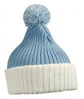 Зимняя молодежная шапка с помпоном голубая с белым