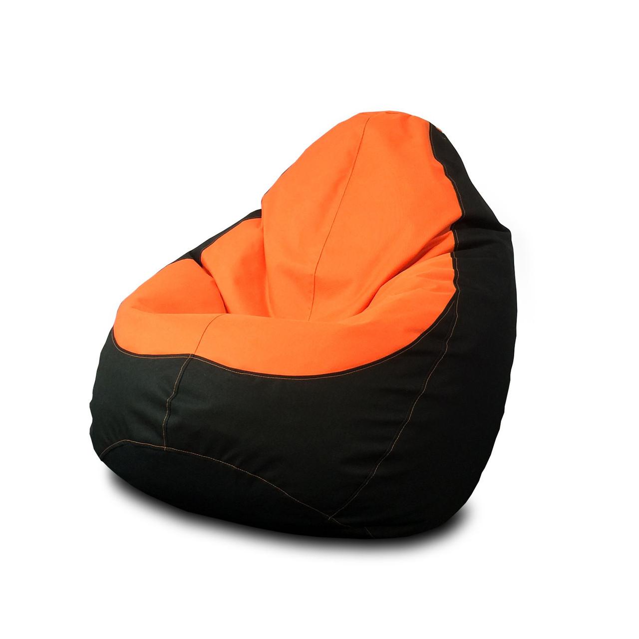 Кресло мешок груша Оксфорд Оранжевый/Черный