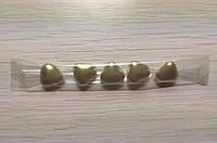 Шоколадные золотые сердечки для декорирования кондитерских изделий