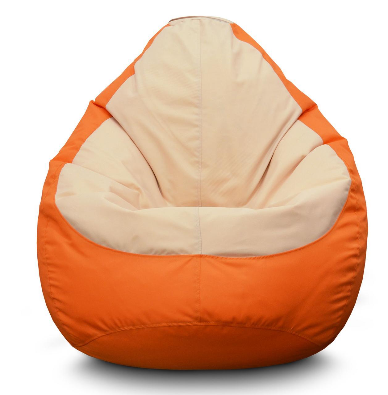 Кресло мешок груша Оксфорд Бежевый/Оранжевый