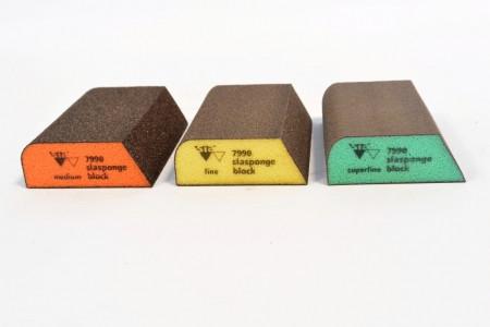 Абразивная губка 4-х сторонняя, комбинированная, Siasponge Block, P180, 1 шт., SIA Abrasives