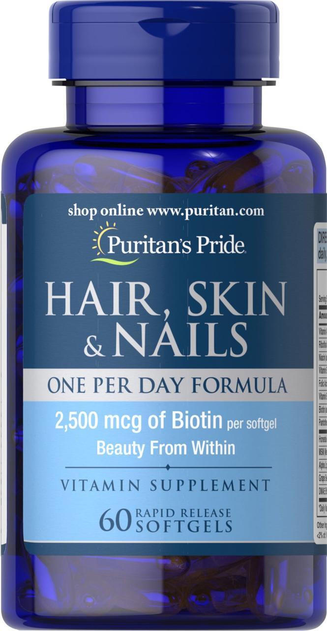 Для волос, кожи, ногтей Puritan's Pride - Hair, Skin & Nails One Per Day Formula (60 капсул)