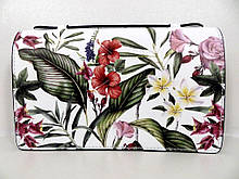 Жіноча сумочка - клатч . Італія 100% натуральна шкіра . Біла з квітами