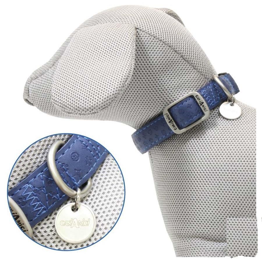 Ошейник для собак MYLORD с тиснением, регул-мый, синий, кожзам