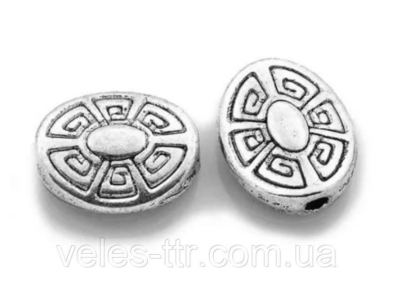 Бусина металлическая Овал Греческая серебро античное 11х9х4 мм