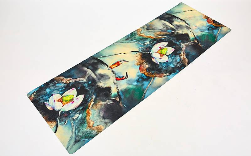 Килимок для йоги Джутовий (Yoga mat) двошаровий 3мм Record FI-7157-3 (розмір 1,83мх0,61мх3мм, джут, каучук, темно-синій-білий,з принтом і Зимородки