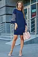 Платье синее с вышивкой женское, р. 50, классическое, офисное, нарядное, короткое, молодёжное, прямое