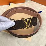 Пояс, ремінь Луї Вітон канва Monogram 3 см двосторонній, шкіряна репліка, фото 3