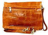 Жіноча сумочка - клатч . Італія 100% натуральна шкіра . Коричневий, фото 2