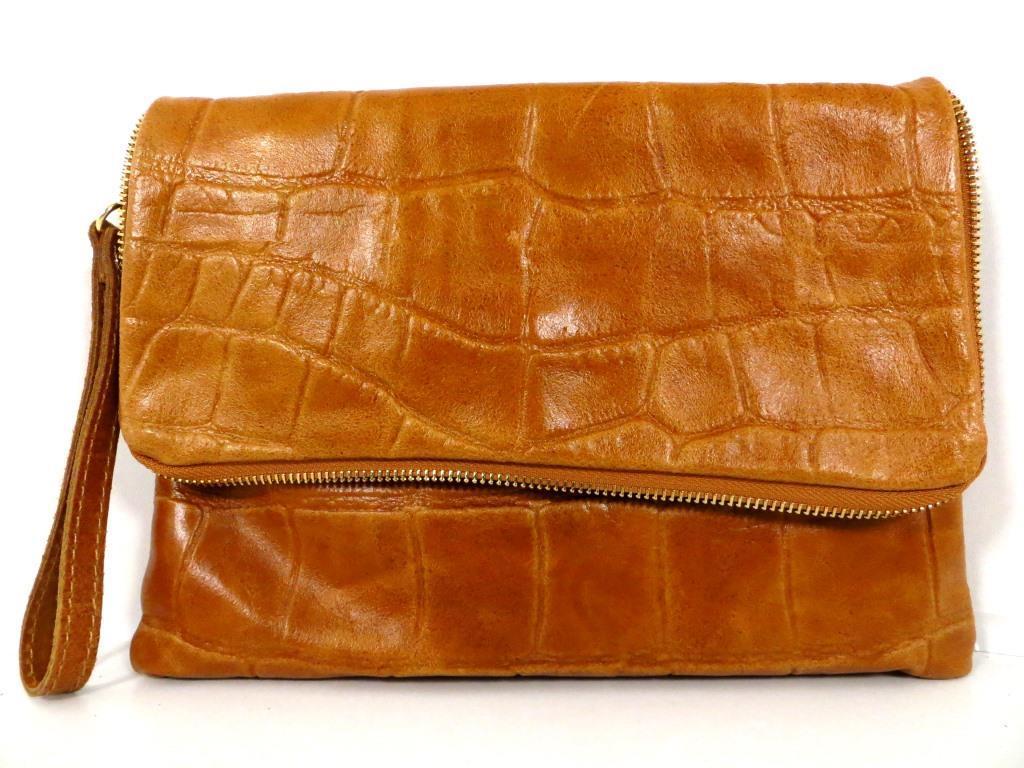 Жіноча сумочка - клатч . Італія 100% натуральна шкіра . Коричневий