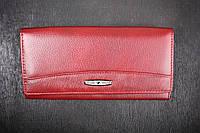 Кошелек женский кожаный классический бордовый, натуральная кожа