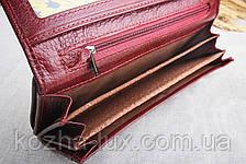 Кошелек женский кожаный классический темно бордовый, натуральная кожа, фото 2