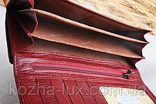 Кошелек женский кожаный стандарт темно-бордовый, натуральная кожа, фото 3