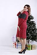 ❤/ Женское малиновое платье из ангоры 01343 / Размер 42-72 / Батал, фото 2