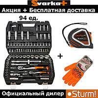 Набор инструмента Sturm, 94 предметов + рулетка Dnipro-M 5 метров + перчатки Doloni Авто
