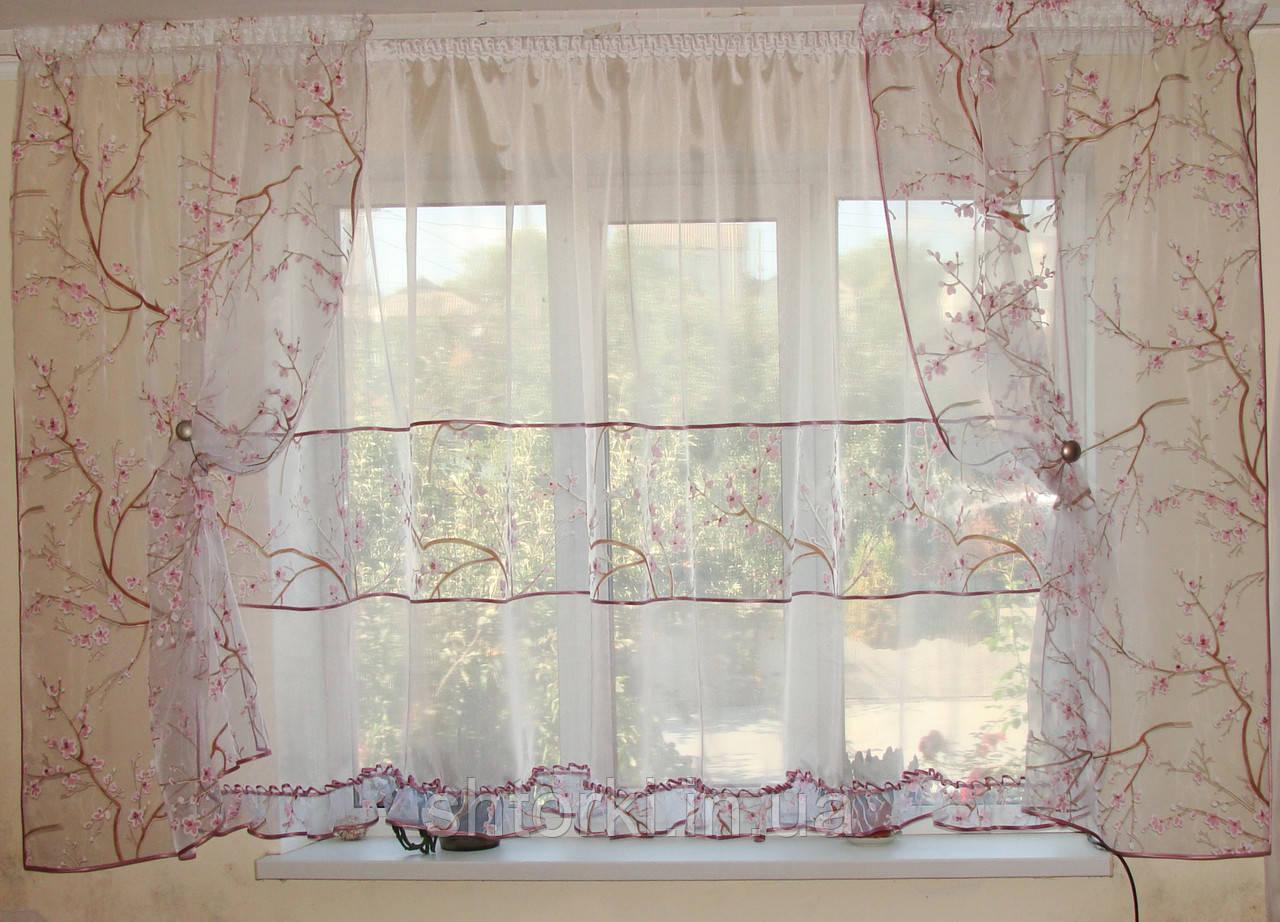 Комплект тюль до подоконника  Сакура розовый