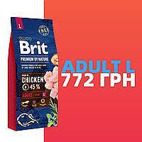 Корм для собак Brit Premium by Nature Adult L (Брит премиум эдалт дог Л) 15 кг