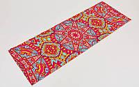 Коврик для йоги и фитнеса Замшевый PVC двухслойный 6мм SP-Planeta FI-6873-7 (размер 173смx61смx6мм, красный-голубой, с Восточным принтом)
