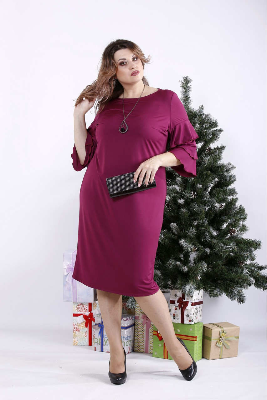❤/ Женское сливовое платье из масла 01342 / Размер 42-72 / Батал