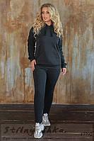 Оригинальный теплый костюм для полных графит с черным, фото 1