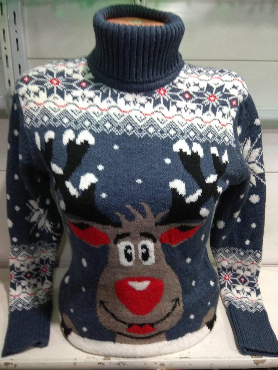 Новогодний свитер с оленем серый