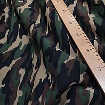 Футер трехнитка с начесом принт камуфляж зеленый, фото 2