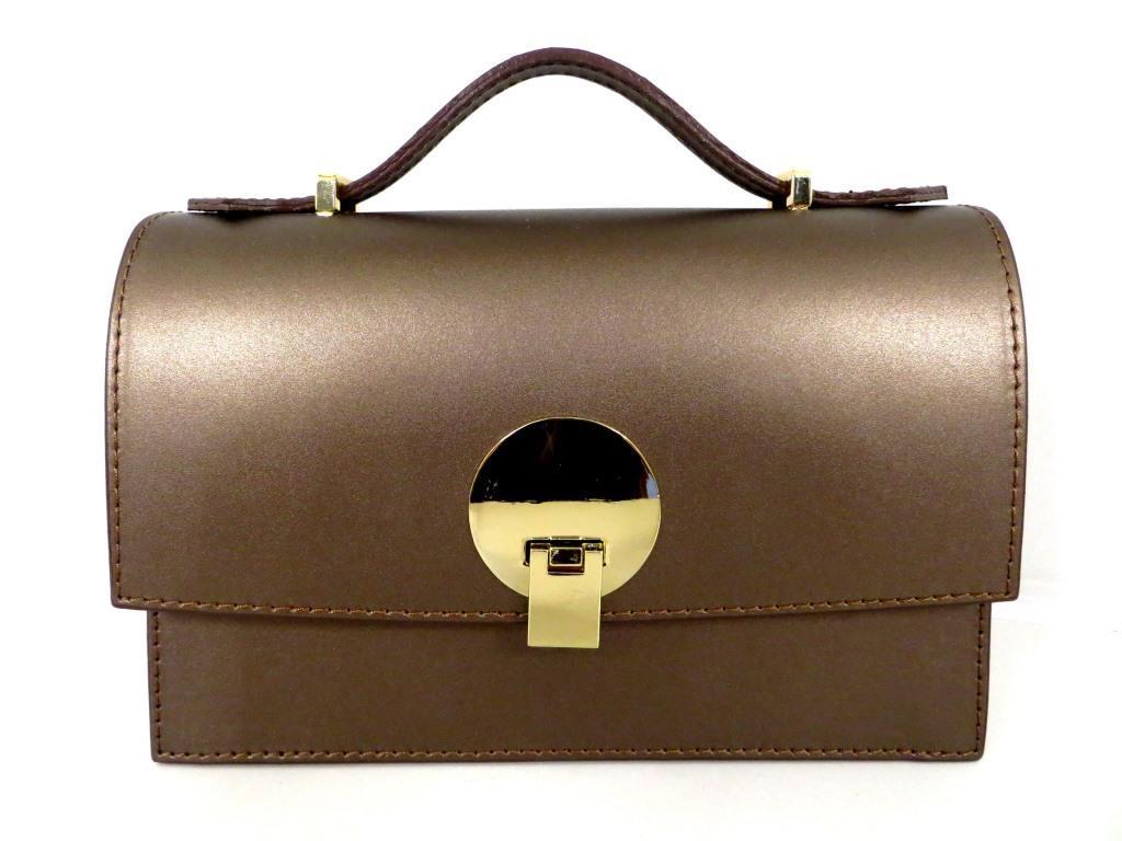 Жіноча сумочка - клатч . Італія 100% натуральна шкіра . Капучіно металік