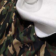 Футер трехнитка с начесом принт камуфляж зеленый, фото 3