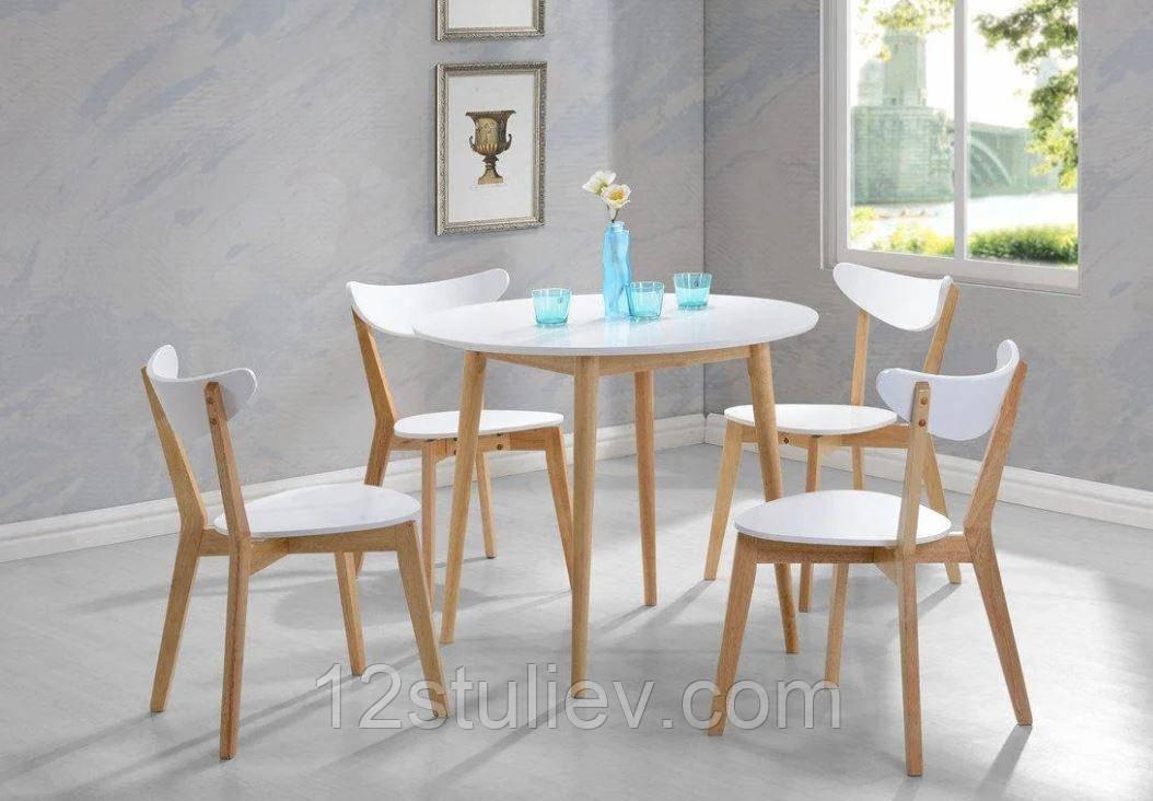 Кухонный Комплект Стол круглый + 4 Стула Модерн Белый с Буком