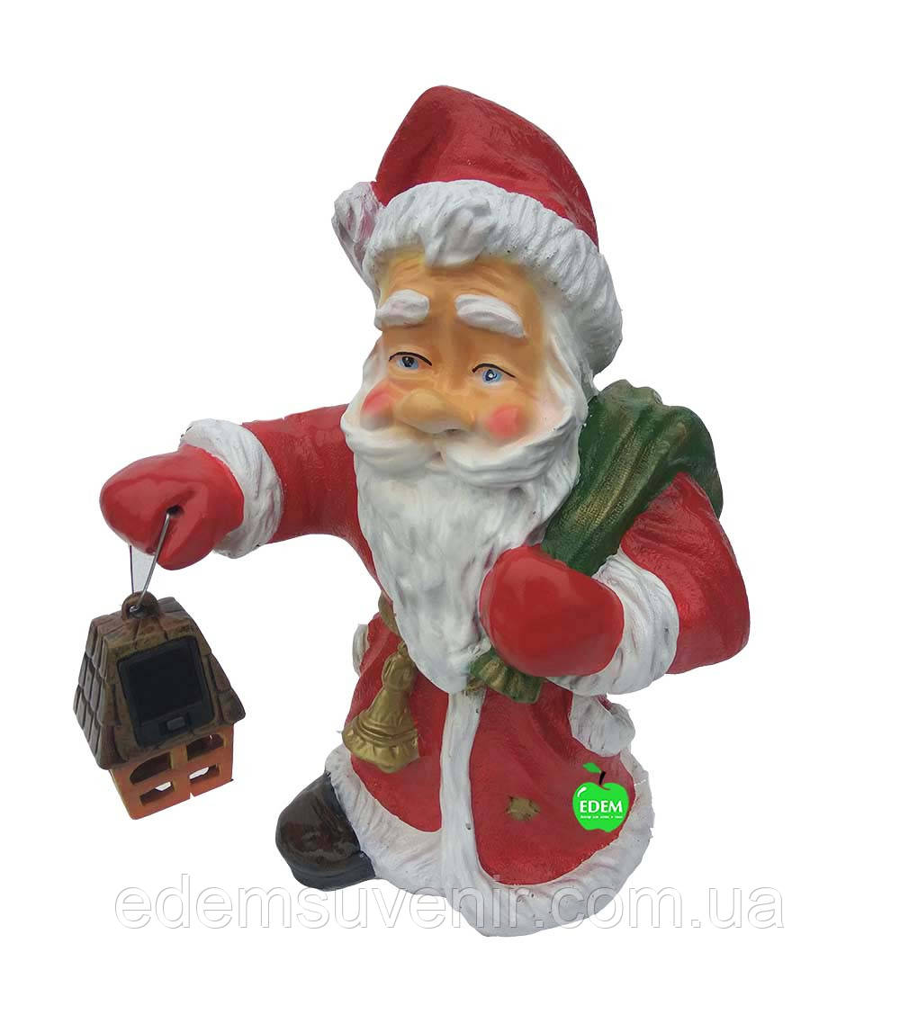 Новогодняя садовая фигура Дед Мороз малый с фонарем