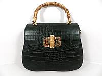 Жіноча сумочка  . Італія 100% натуральна шкіра . Зелена, фото 1