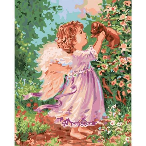 Картина по номерам Ангел с щенком 40*50см КНО2314  Идейка, фото 2