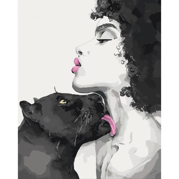 Картина по номерам Поцелуй пантеры 40*50см КНО4506  Идейка