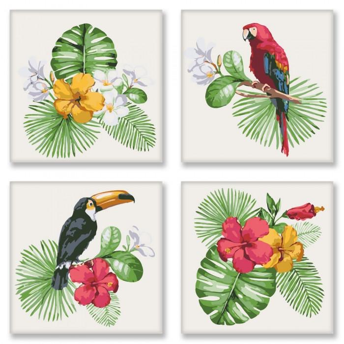 Набор картин по номерам Полиптих Тропическое разнообразие 4шт. 18*18см. KNP007  Идейка