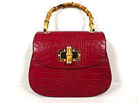 Жіноча сумочка  . Італія 100% натуральна шкіра . Червона, фото 1
