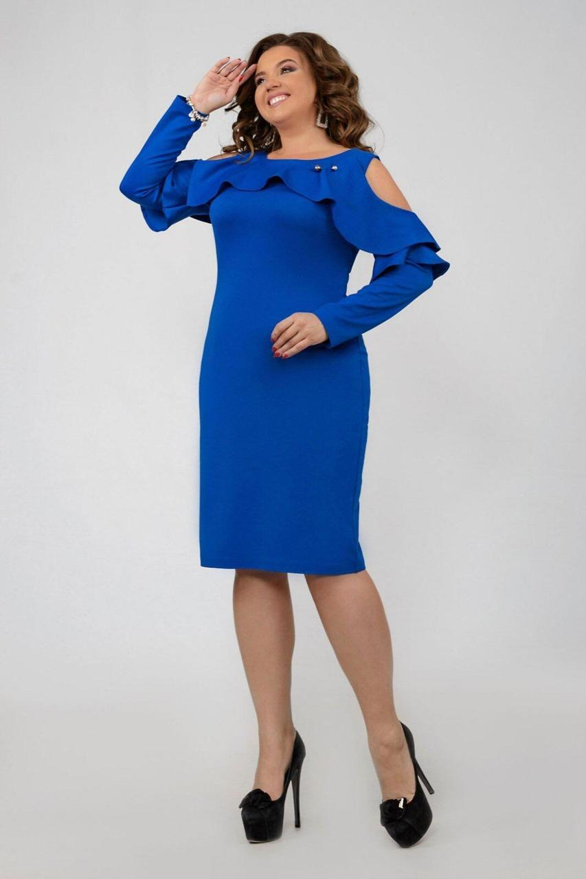 """Элегантное женское платье с открытыми плечиками ткань """"Дайвинг с напылением"""" э 54 размер батал"""