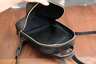 Рюкзак женский Колибрончик Кожа Итальянский краст цвет Черный, фото 3