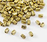 Намистина металева роздільник Трубочка Колонка античне золото 3х4 мм, фото 2